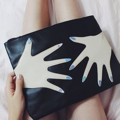 Audrey with the Hands On Bag || Get the clutch: http://www.nastygal.com/product/hands-on-bag?utm_source=pinterest&utm_medium=smm&utm_term=ngdib&utm_content=clothing_optional&utm_campaign=pinterest_nastygal