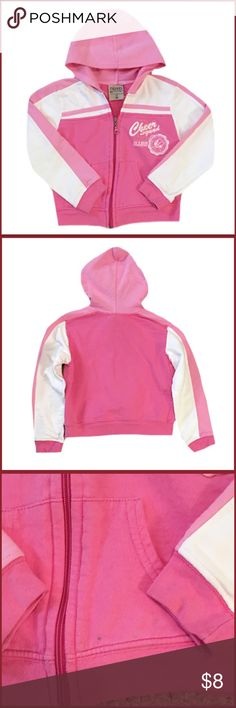 "Carter's Pink And White Full Zip With Hood Gently used girl's Carter's pink and white long sleeve full zip with a hood. There are a couple black marks on front at the bottom. Size Large (6X) Made with 100% Cotton. Length is 15"" Carter's Shirts & Tops Sweatshirts & Hoodies"