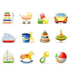 Toys icon set vector