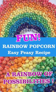 A Rainbow of Possibilities!Multicoloured popcorn is so much fun and very easy to make.The recipe below makes enough popcorn for 3 of unpopped ker Rainbow Popcorn, Blue Popcorn, Colored Popcorn, Rainbow Treats, Coloured Popcorn Recipes, Colorful Popcorn Recipe, Popcorn Snacks, Candy Popcorn, Flavored Popcorn
