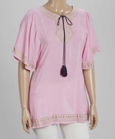 Loving this Lavender & Tan Tassel Embroidered Notch Neck Tunic - Plus on #zulily! #zulilyfinds