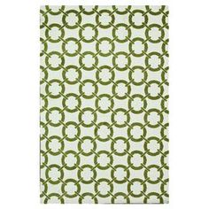 """Stylishly anchor your living room or master suite with this eye-catching rug, showcasing a linked circle motif in ivory and peridot.    Product: RugConstruction Material: 100% PolyesterColor: Ivory and peridotFeatures:  Machine made Pile Height: 0.25"""" Note: Please be aware that actual colors may vary from those shown on your screen. Accent rugs may also not show the entire pattern that the corresponding area rugs have.Cleaning and Care: Clean spills immediately by blotting with a clean ..."""