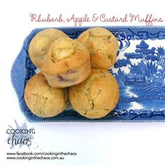 Rhubarb and apple are a match made in heaven. Add custard to the flavour mix and. These rhubarb, apple & custard muffins are delicious warm or cold. Lunch Box Recipes, Cereal Recipes, Muffin Recipes, Apple Recipes, Rhubarb Recipes Thermomix, Thermomix Desserts, Apple Custard, Rhubarb And Custard, Rhubarb Muffins