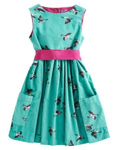 Joules JNR CONSTANCE Girls Dress, Aqua Ducks. If you're searching for a dress with a little extra detail, we suggest you go with bow. In super-soft needlecord and a hand-drawn print, this pretty little number will be a swift style solution in the throes of the party season.