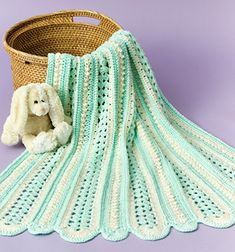 Soft Shells  Baby Blanket free pattern click here: http://www.caron.com/projects/baby/ssb_soft_shells.html
