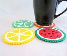 Fruit drinks coasters, pack of 4, lemon, orange, lime, watermelon. hama/perler beads, Bead art.