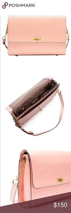 "J. Crew Edie Grand Shoulder Bag Gently used - small dent on front of bag. Perfectly polished handbag.  Leather.  Pink, rose color  Removable, adjustable shoulder strap fully extends to 26"".  14 1/2"" handle drop.  Dust Bag Included.     Offers accepted. J. Crew Bags Shoulder Bags"