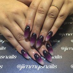 Purple ombré almond nails done by @jimmysnails on Instagram
