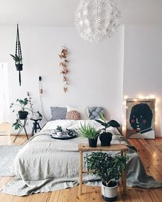 Bright Scandinavian Bedroom With Interior In White And Green Plants Room Decor Beautiful Bedroom Inspiration Home Decor