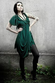 Green draped asymmetrical  Dress B. No 7 ROHMY Black by ROHMY