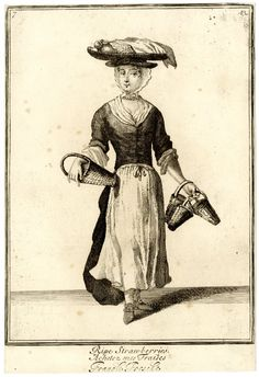 """Ripe Straberries""; a strawberry seller standing to front, carrying fruit on a large flat basket on her head, and punnets in her hands; from late series of the Cries of London, the plate considerably reworked with altered hat, neck and shoes.  1688, reworked and published after c.1750 Etching"