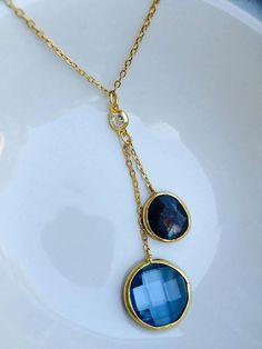 Gold Blue Topaz Quartz necklace with by SheRocksGemjewellery