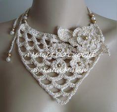 Beautiful crochet necklace by A MAGIA DO CROCHÊ                                                                                                                                                      Mais