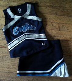 Adorable EAGLES Cheerleading Cheerleader Uniform Top Skirt.  GIRLS XS 3 4 5.  EUC. $18.00.