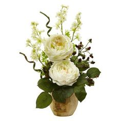 Nearly Natural Large Rose and Dancing Daisy in Wooden Pot White - 1447-WH