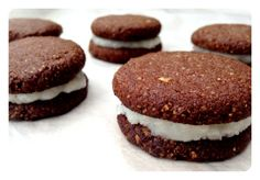 Mini Chocolate Cream Whoopies. Gluten Free, Dairy Free, Vegan & Paleo. Recipe on www.thelittlegreenspoon.com