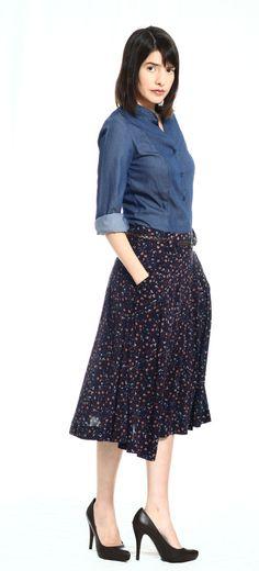 Romantic blue floral skirt  by TAMAR LANDAU #modest chic