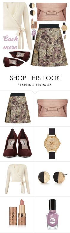 """""""OOTD: Cashmere"""" by petalp ❤ liked on Polyvore featuring Dolce&Gabbana, Givenchy, Miu Miu, Olivia Burton, Miss Selfridge, tarte, Sally Hansen, Virtue London, outfit and skirt"""