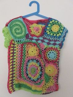 freeform top for my daughter (front) Crochet Tops, Crochet Blankets, Chrochet, Vests, Crocheting, To My Daughter, Addiction, Projects To Try, Weaving