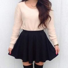 long-sleeved pullover with black skater skirt - Overknees outfit - Best Skirt Teen Fashion Outfits, Fall Outfits, Casual Outfits, Womens Fashion, Outfits 2014, Cute Outfits With Skirts, Fashion Wear, Circle Skirt Outfits, Casual Dresses For Teens