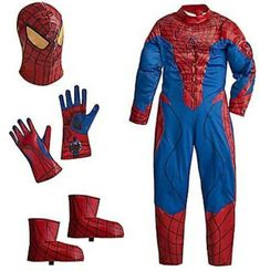 7d5dc7ea5f1 DISNEY STORE DELUXE MARVEL Boys Spider-man Costume Mask Gloves Booties XXS  2-3