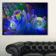 Blue Fractal Flower Bouquet Floral Large Abstract Art Canvas Print - Free Shipping Today - Overstock.com - 19091733 - Mobile
