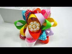 How to make a multi color open ribbon flower