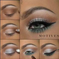 Pacific, green eye liner, white eye shadow, silver, sparkle, shimmer, black eye liner, motives cosmetics