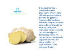 O gengibre ativa o metabolismo do organismo em até 20%, além de potencializar a queima de gordura corporal.