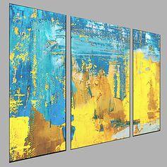Pintada a mano Abstracto Horizontal, Modern Lona Pintura al óleo pintada a colgar Decoración hogareña Tres Paneles 2018 - €133.1
