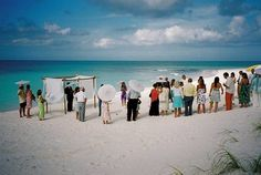 Beach wedding with no chairs :)