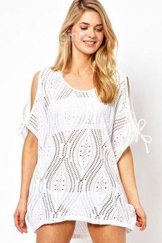 a12148f7f27ca Sexy Women Crochet Beach cover up top Blouse Bikini Swimwear Dress US Seller