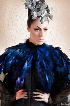 dar sara haute couture 2014 sleeveless blue dress navy feather cape close up