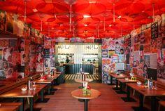 Happy Happy Joy Joy by Concrete Asian Fast Food, Chinese Fast Food, Chinese Street Food, Asian Street Food, Japanese Restaurant Interior, Chinese Restaurant, Restaurant Design, Lunch Restaurants, Asian Restaurants