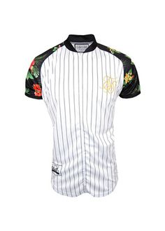 Sik Silk White Tropical Retro Baseball T-Shirt, stand out from the crowd with what is being tipped to be one of the most popular fashion piece's for 2014!