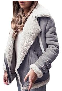 Jaycargogo Womens Winter Faux Long Suede Lamb Wool Coat Shearling Jacket Grey S * You can find more details by visiting the image link. (This is an affiliate link)
