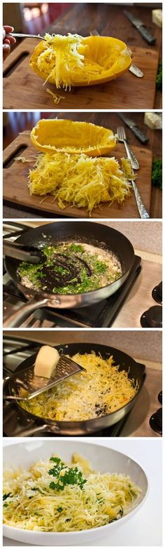 Baked Spaghetti Squash with Garlic and Butter - add some chicken and yummy!