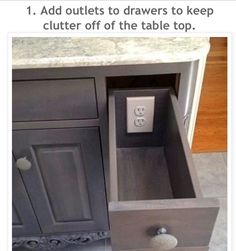 Outlets in the drawers to keep clutter off of the countertops