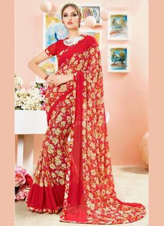 Shop online from the largest collection of indian saree. Buy this faux georgette print work casual saree for casual.