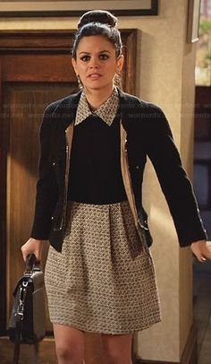 Zoe's black dress with grey tweed collar on Hart of Dixie.  Outfit Details: http://wornontv.net/31418/ #HartofDixie