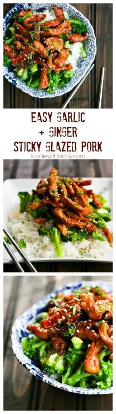 Easy Garlic and Ginger Sticky Glazed Pork Stir Fry.... Maybe with chicken instead
