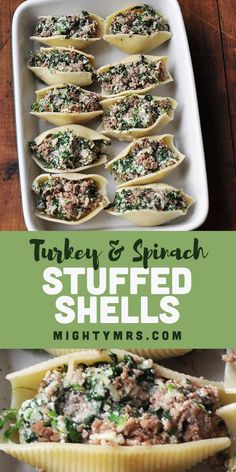 These healthy stuffed shells are going to rock your world! They're stuffed with spinach, a yummy blend of cheeses, then lightened up with ground turkey. Pasta Recipes, Dinner Recipes, Cooking Recipes, Healthy Recipes, Healthy Food, Meat Recipes, Healthy Meals, Recipies, Healthy Stuffed Shells