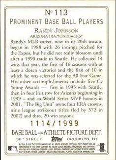 2007 Topps Turkey Red - Chrome #113 Randy Johnson Back