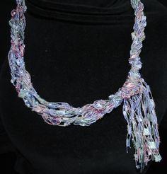 Ladder Trellis Necklace Free Patterns | Crocheted Ladder/Trellis Yarn Necklace Free by RaggityBaggity