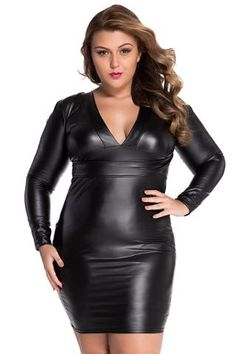 Black Plunging V-Neck Long-Sleeve Leather Dress LAVELIQ Leather Mini Dress f19f1f573