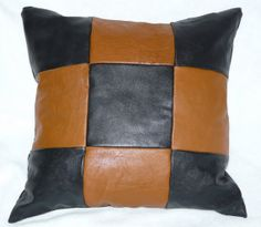 Brown & Black Leather Throw Accent Pillow Checkerboard 9 patch 18X18 by BethsBounty, $45.00