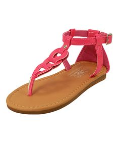 Easy Shoes Neon Fuchsia Link T-Strap Sandal by Easy Shoes #zulily #zulilyfinds