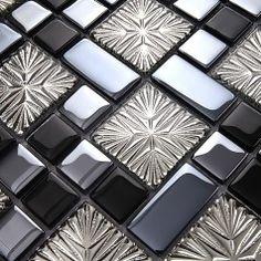 Metal Coating Mosaic Tiles Art Design Glass Tile Bedroom Kitchen Washroom  Hall Backsplashes KQYT171