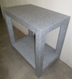 Custom Upholstered Table with Shelf Design Your by livenUPdesign