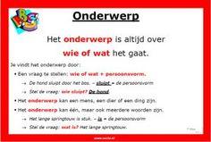 Zo vind je het onderwerp van de zin. Learn Dutch, Dutch Language, School 2017, Learning To Be, Kids Education, Grammar, Homeschool, Classroom, Teacher